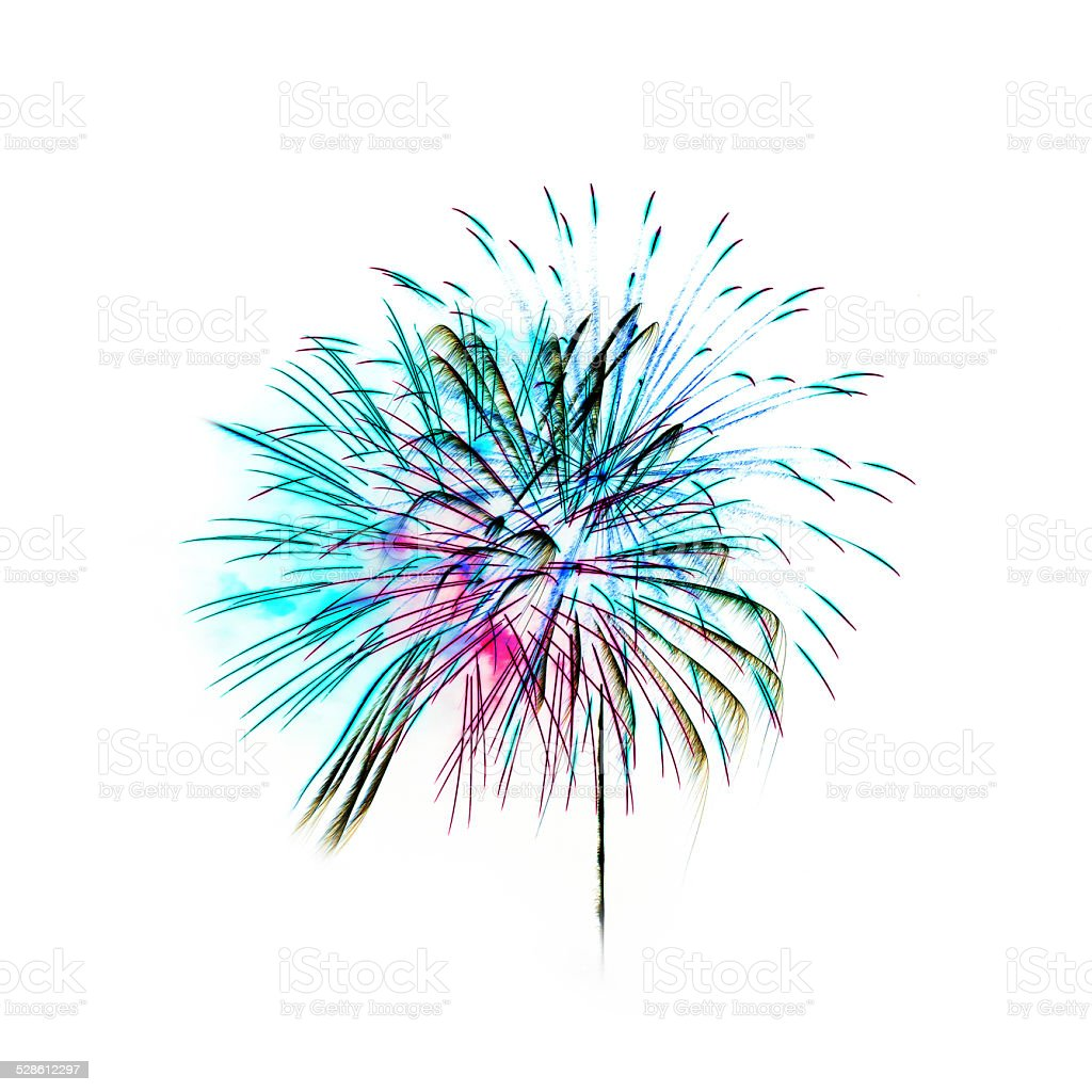 Colorful fireworks light on white background stock photo