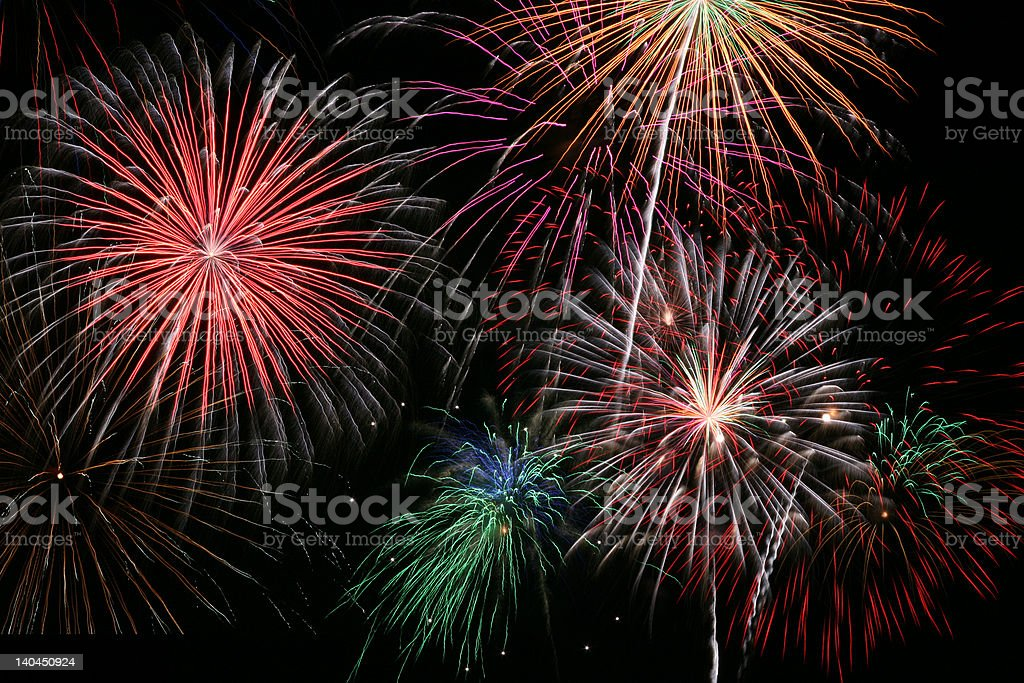Colorful fireworks make the finale of a fireworks display royalty-free stock photo