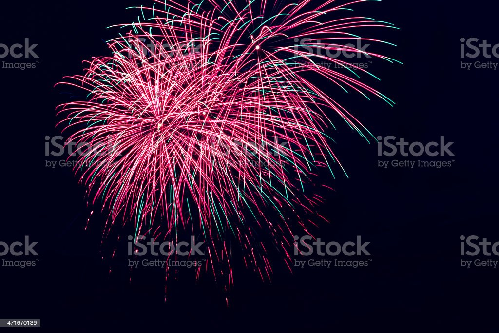 Colorful fireworks on the black sky background royalty-free stock photo