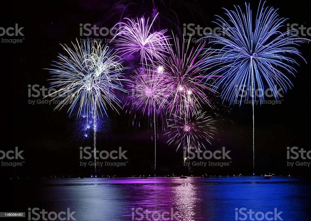 Colorful Fireworks over Lake royalty-free stock photo