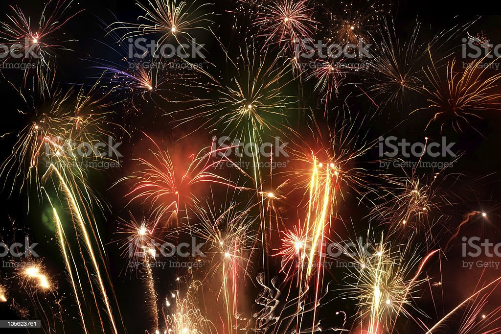 colorful fireworks scenery royalty-free stock photo