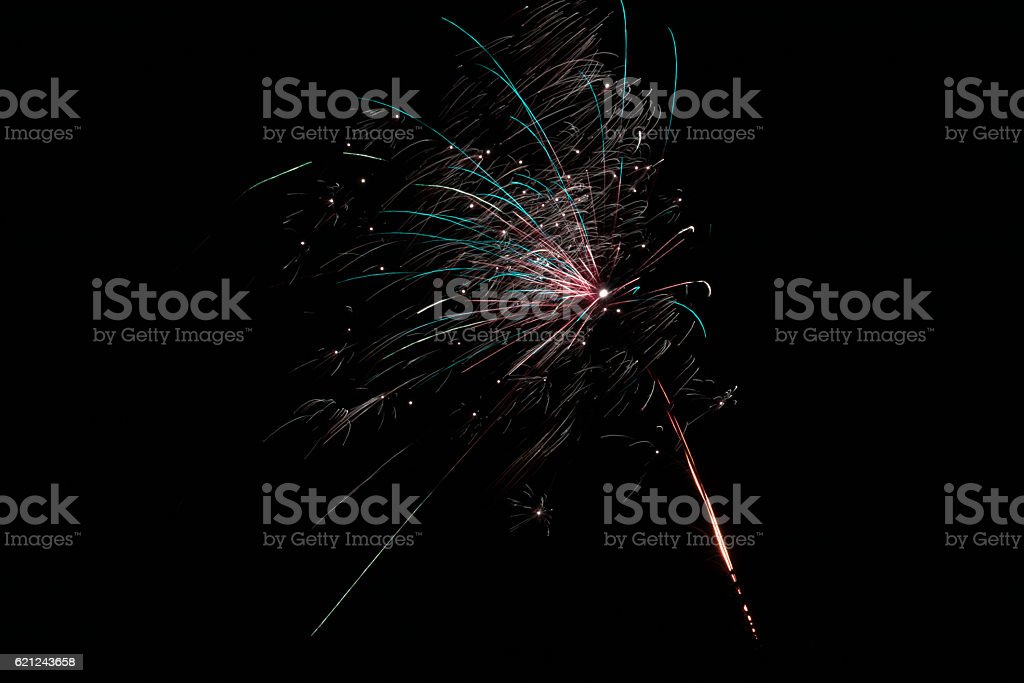 Colorful Fireworks With Dots In The Night stock photo