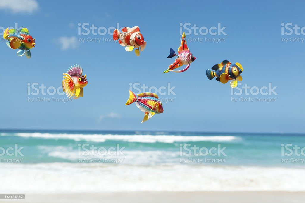 Colorful Fish Decorating the Tropical Paradise Beach royalty-free stock photo