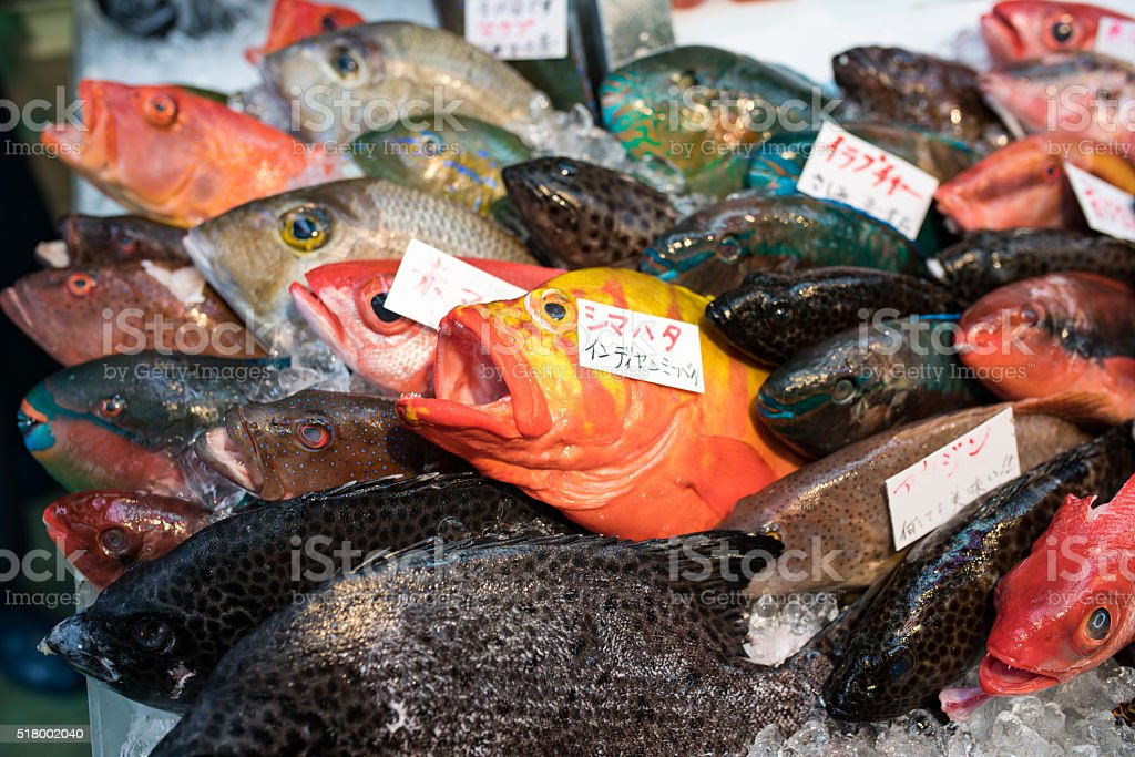Colorful fish in a public market in Okinawa, Japan stock photo