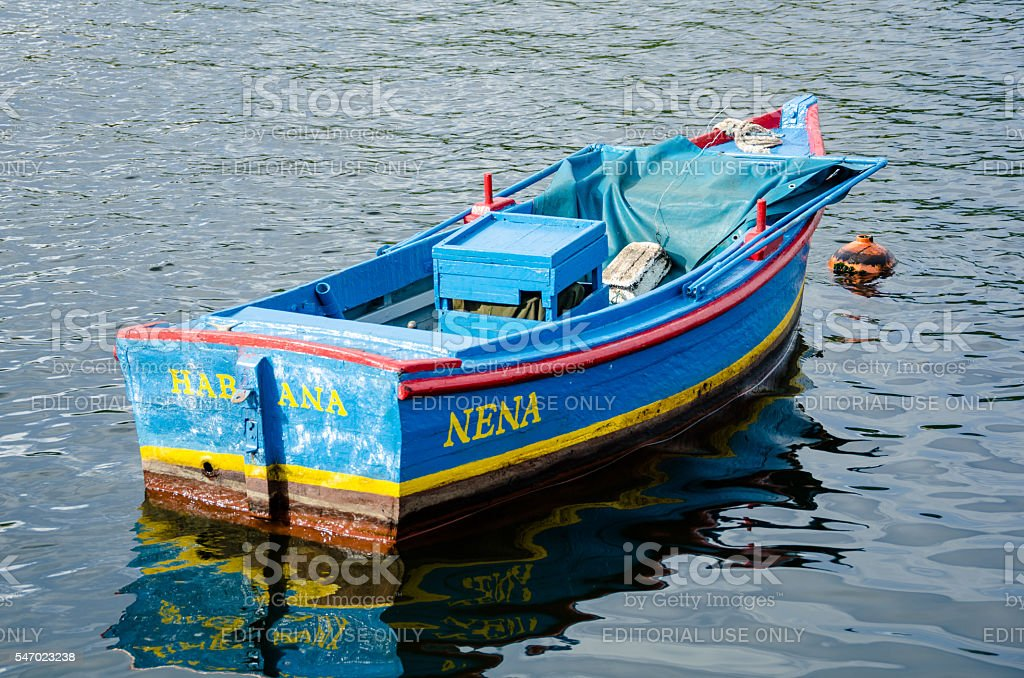 Colorful fishing boat in Havana harbor stock photo