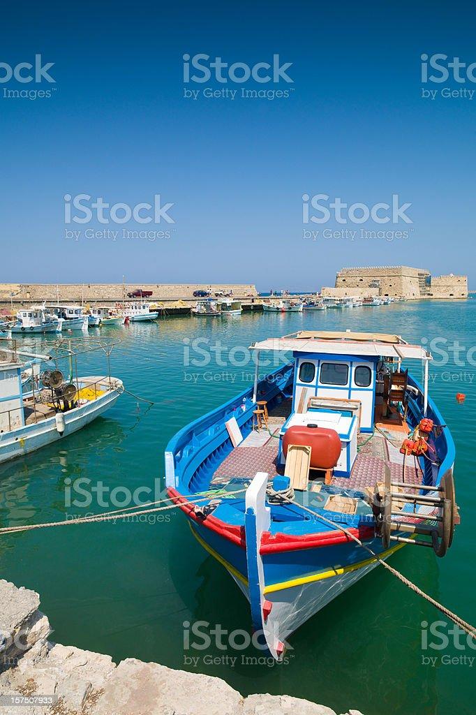 Colorful Fishing Boats Iraklion Harbor Crete royalty-free stock photo