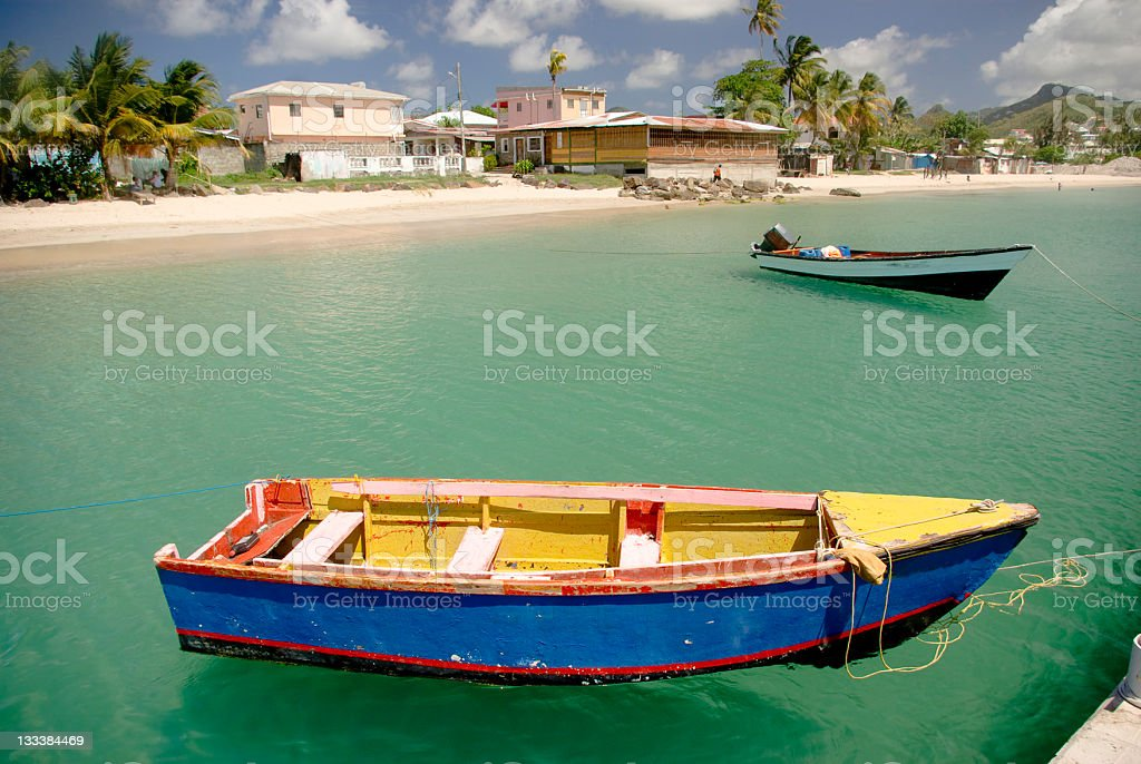 colorful fishing boats moored at Gros Islet St Lucia stock photo