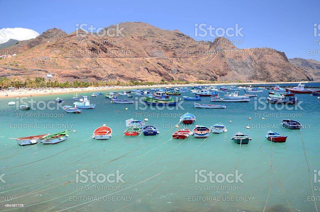 Colorful fishing boats on Teresitas beach on Tenerife stock photo