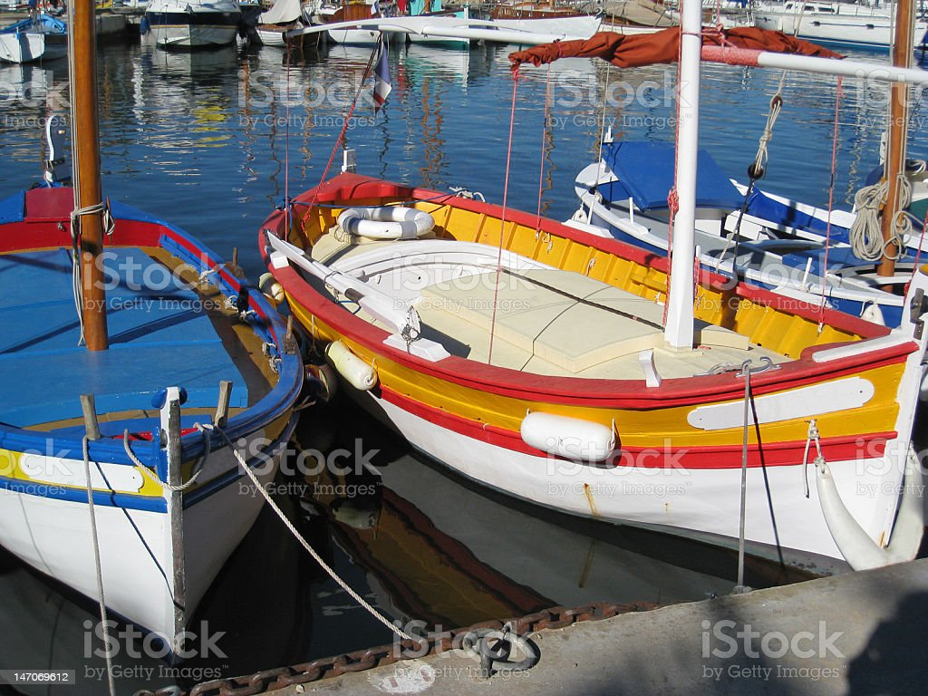 Colorful fishing boats stock photo