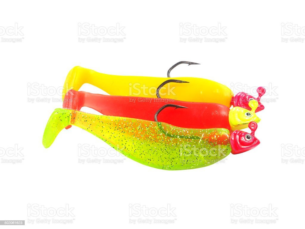 Colorful fishing jig shad lure royalty-free stock photo