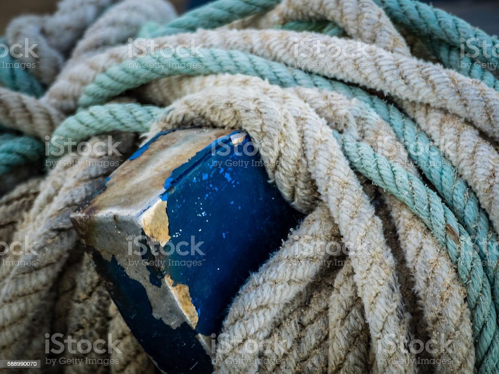 Colorful fishing ropes stock photo