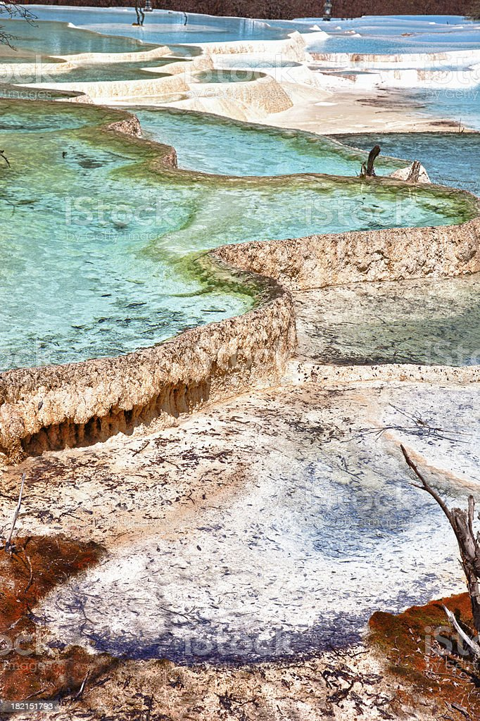 Colorful Five Color Ponds at Huanglong Valley Landscape, Sichuan, China stock photo