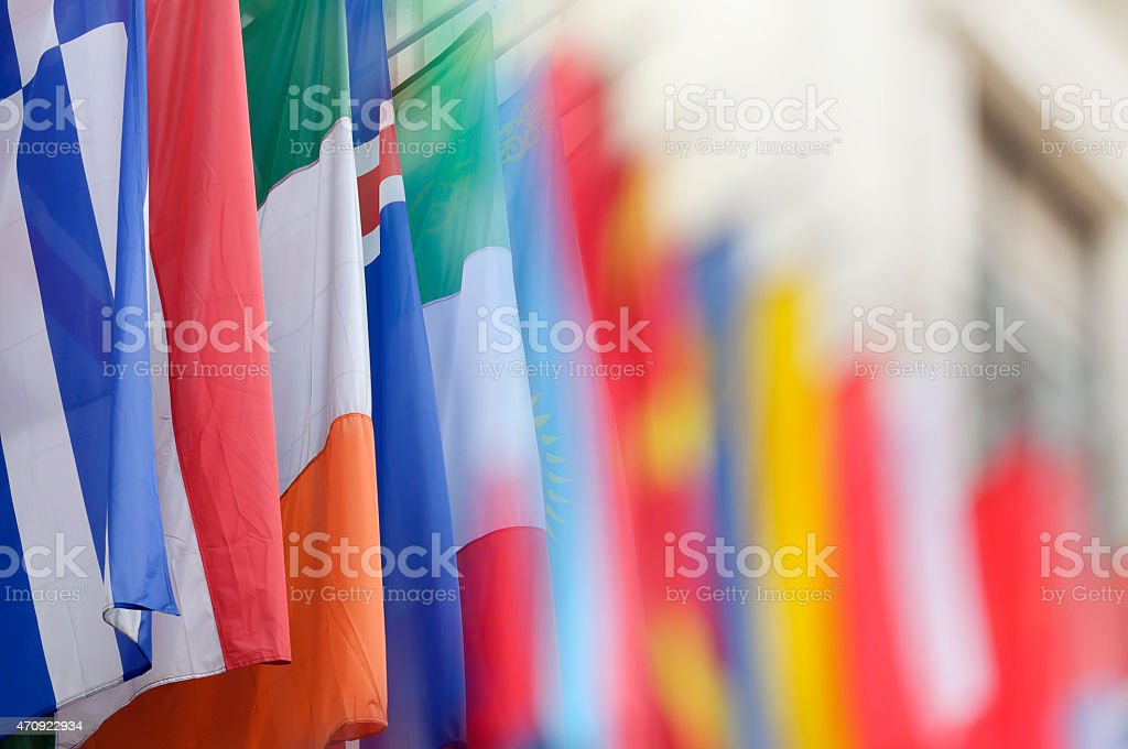 Colorful flags, blurred photo with copy space stock photo