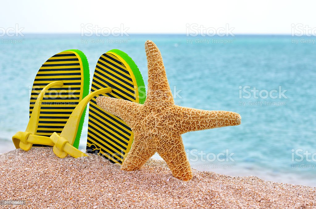 Colorful flip flops and starfish. stock photo