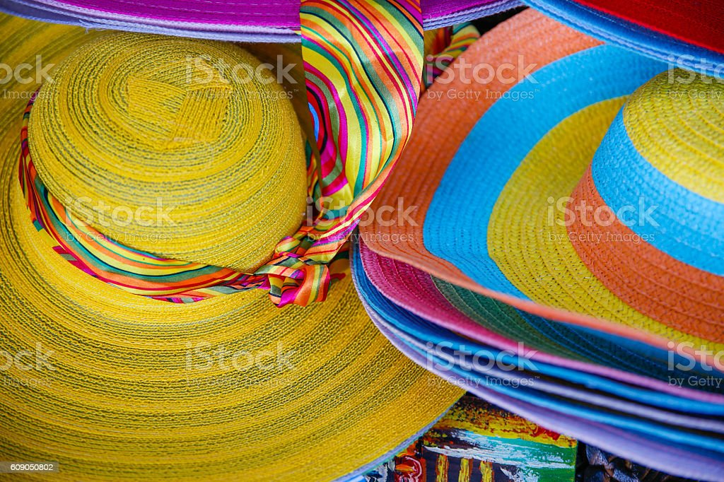 Colorful floppy hat stock photo