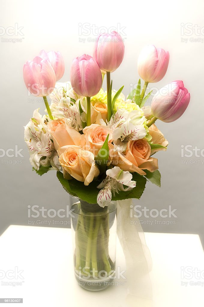 Colorful Floral Arrangement In A Glass Vase royalty-free stock photo