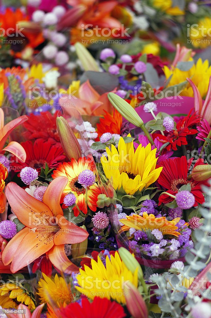 Colorful Florist Flower Bouquets royalty-free stock photo