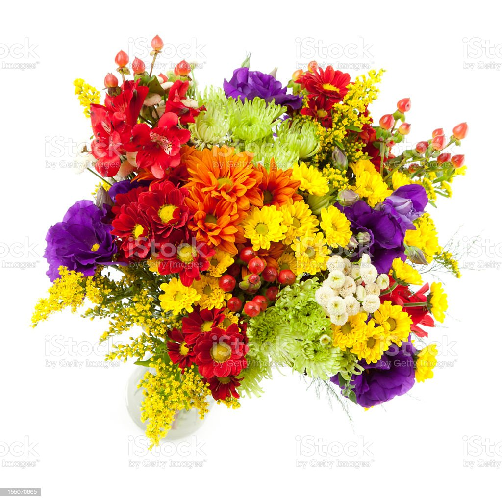 Colorful flower arrangement against a white background stock photo