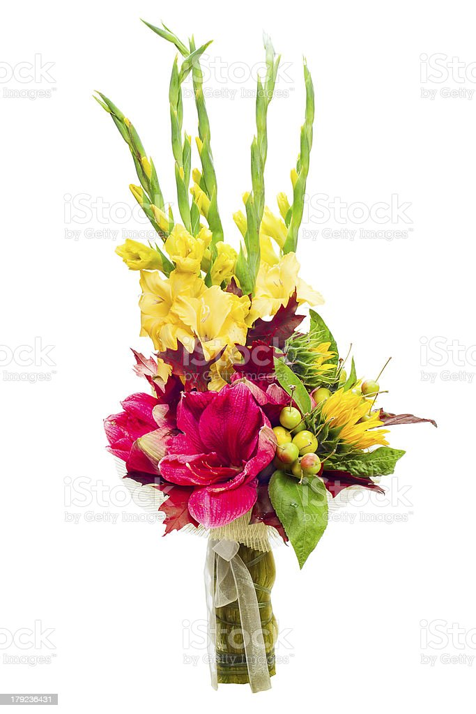 Colorful flower bouquet arrangement centerpiece from gladioluses. royalty-free stock photo