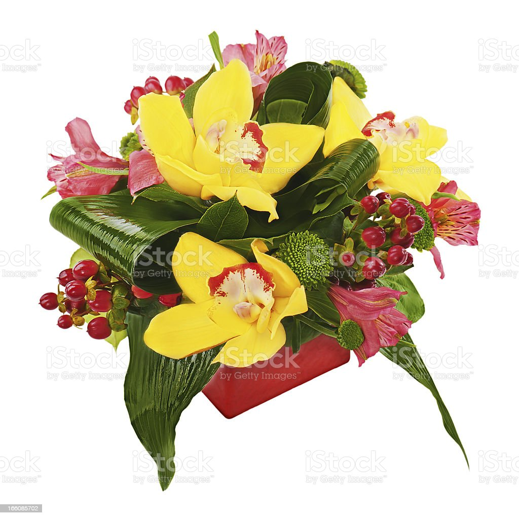 Colorful flower bouquet from orchids and lilies arrangement royalty-free stock photo