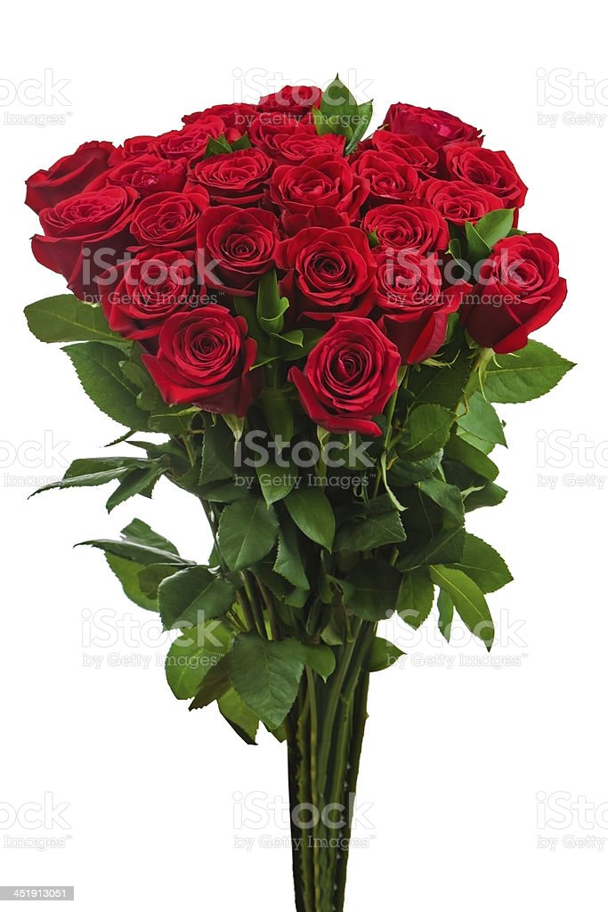 Colorful flower bouquet from red roses isolated on white backgro stock photo
