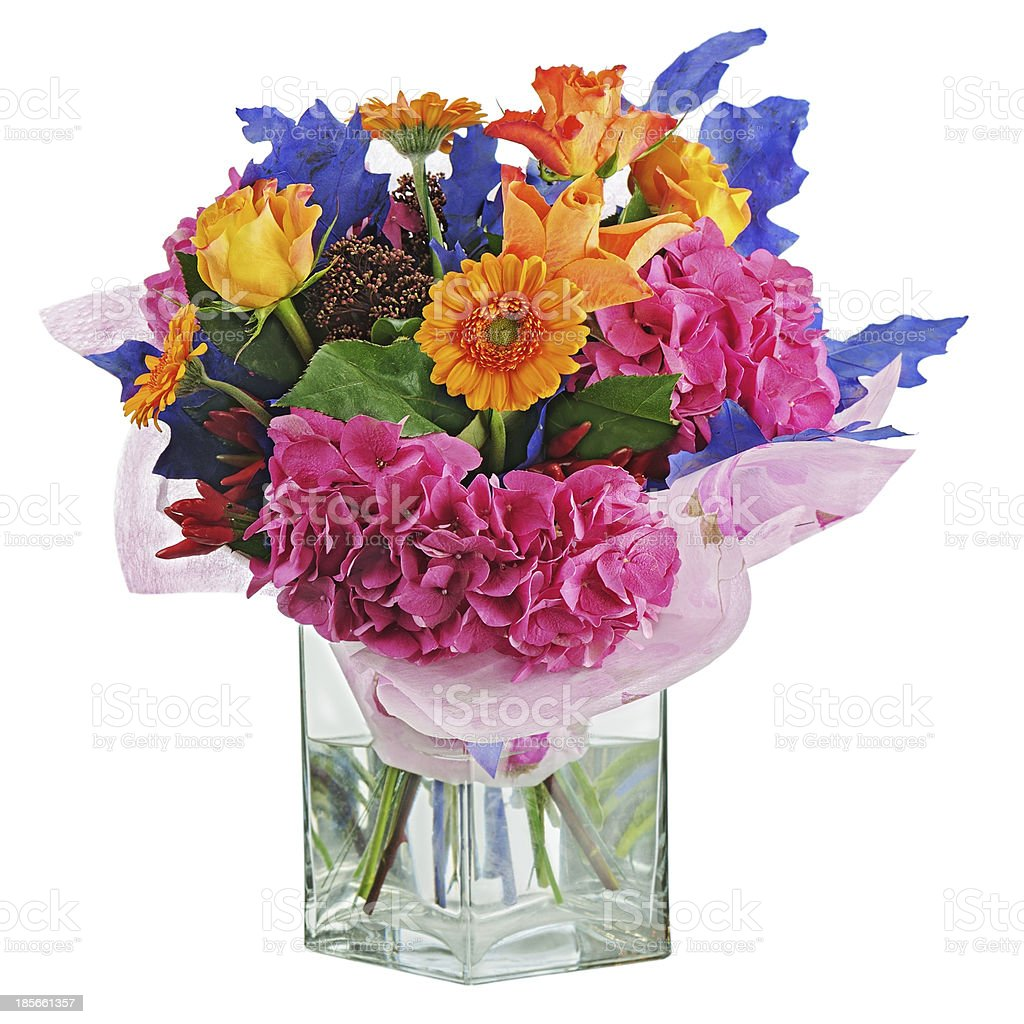 Colorful flower bouquet in vase isolated on white background. royalty-free stock photo