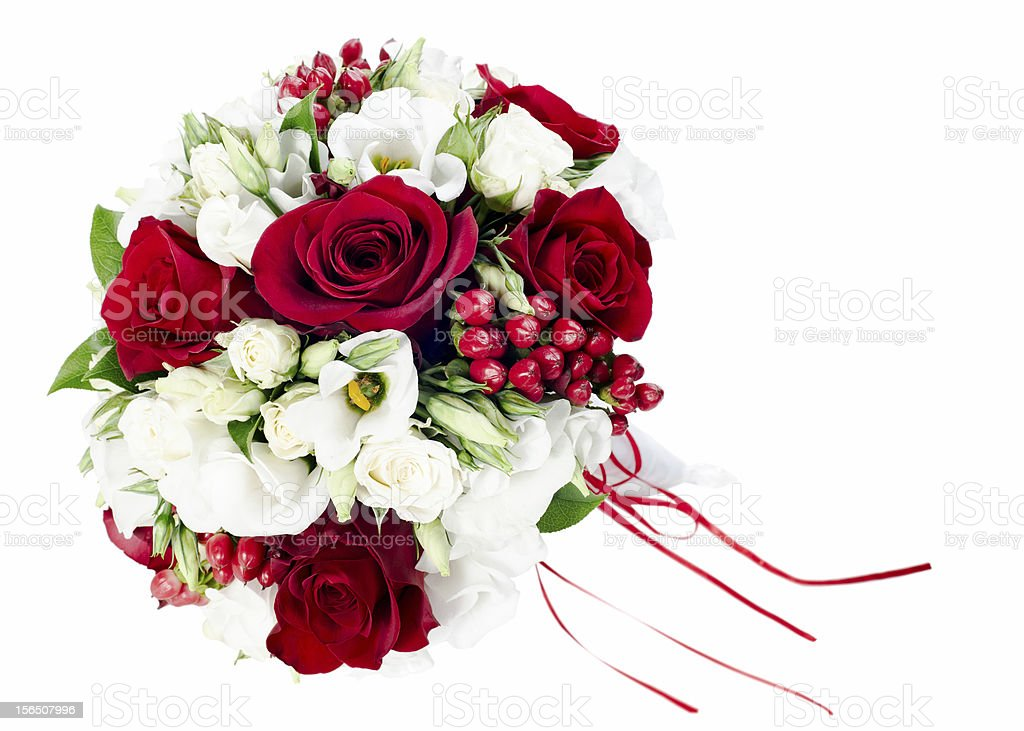 colorful flower wedding bouquet for bride isolated on white back royalty-free stock photo