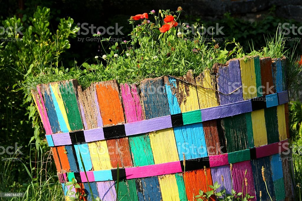 Colorful flowerbox stock photo