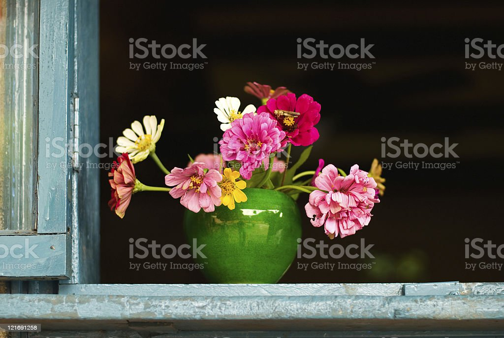 Colorful flowers in Chinese pottery royalty-free stock photo