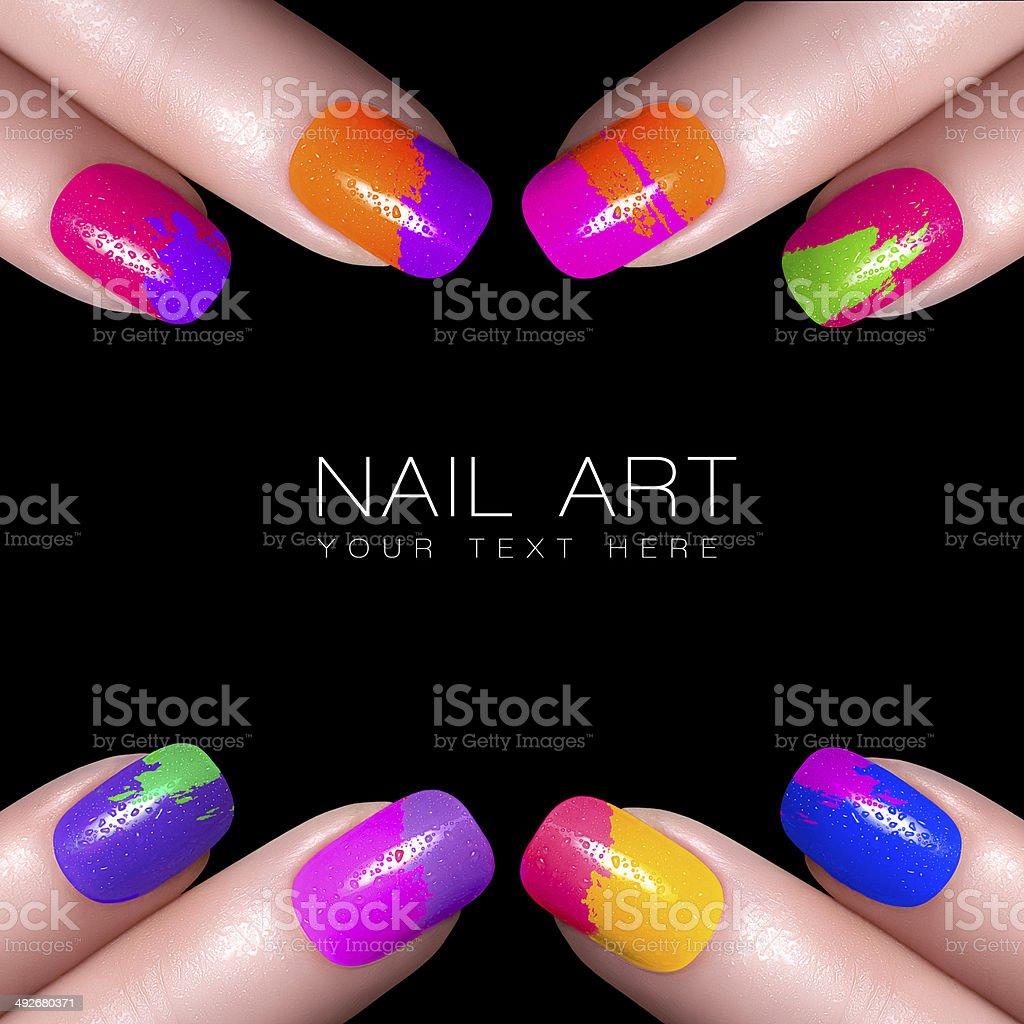 Colorful Fluor Nail Polish. Art Nail stock photo