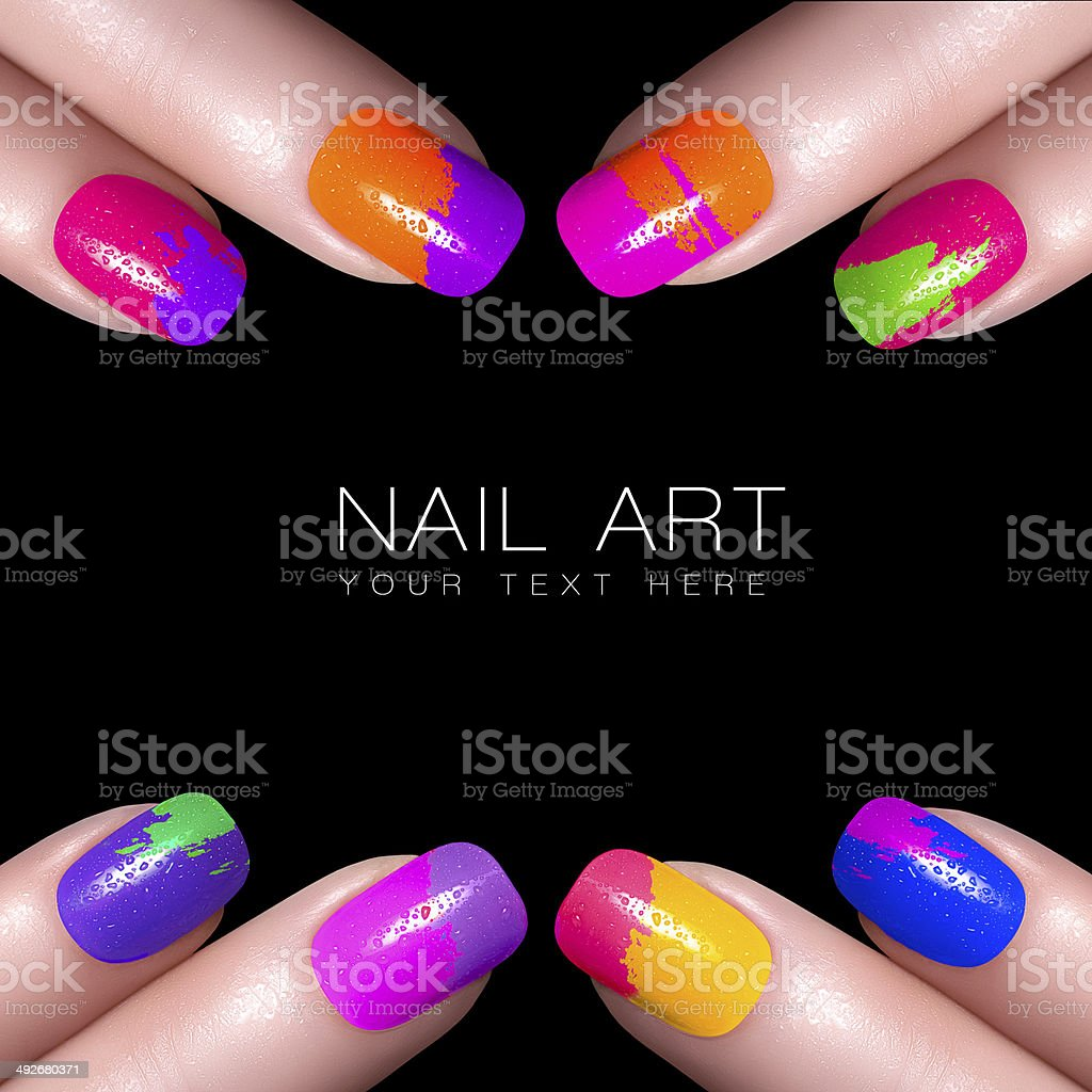 Colorful Fluor Nail Polish. Art Nail stock photo