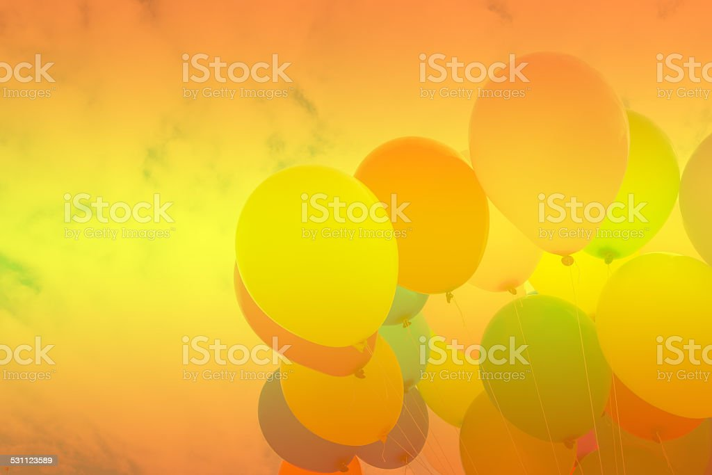 colorful flying balloon in  sky stock photo