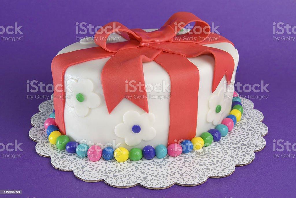 Colorful Fondant Gift Cake royalty-free stock photo