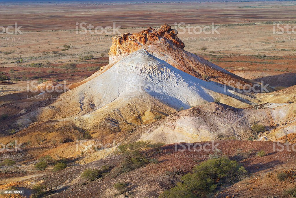 Colorful formation at the Breakaways Reserve, Coober Pedy, Australia. stock photo