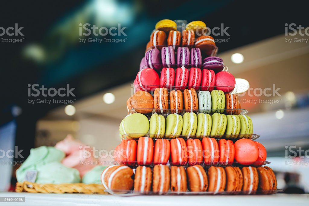 Colorful French macaroon sweets stock photo