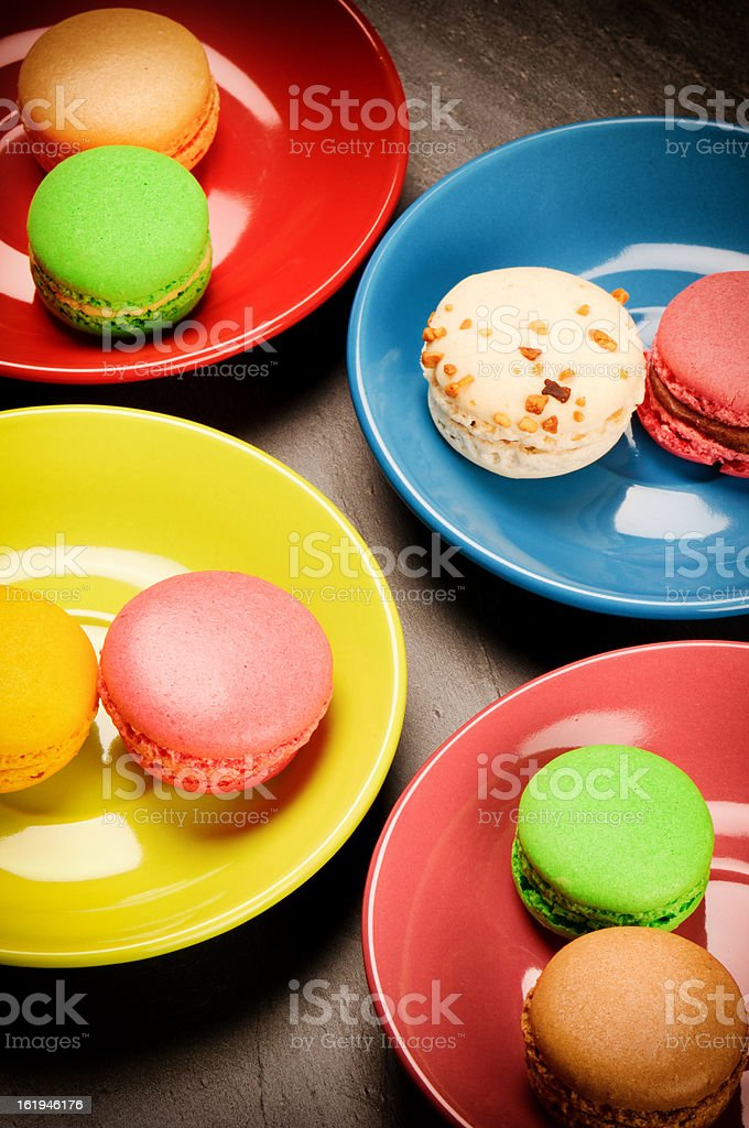 Colorful French macaroons royalty-free stock photo