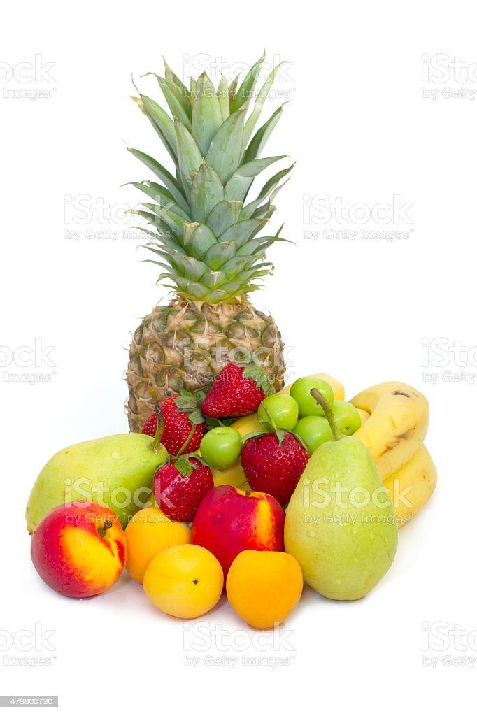 Colorful Fresh Fruits on white stock photo