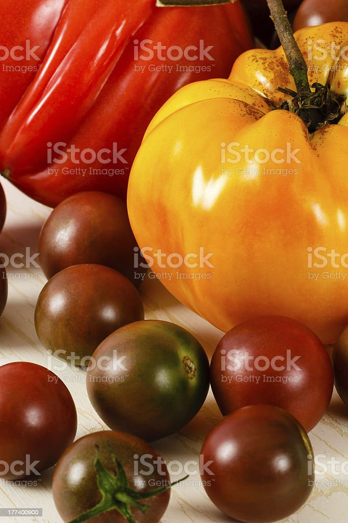 Colorful Fresh Heirloom Tomatoes royalty-free stock photo