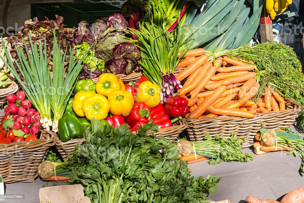 Colorful fresh vegetables for sale stock photo