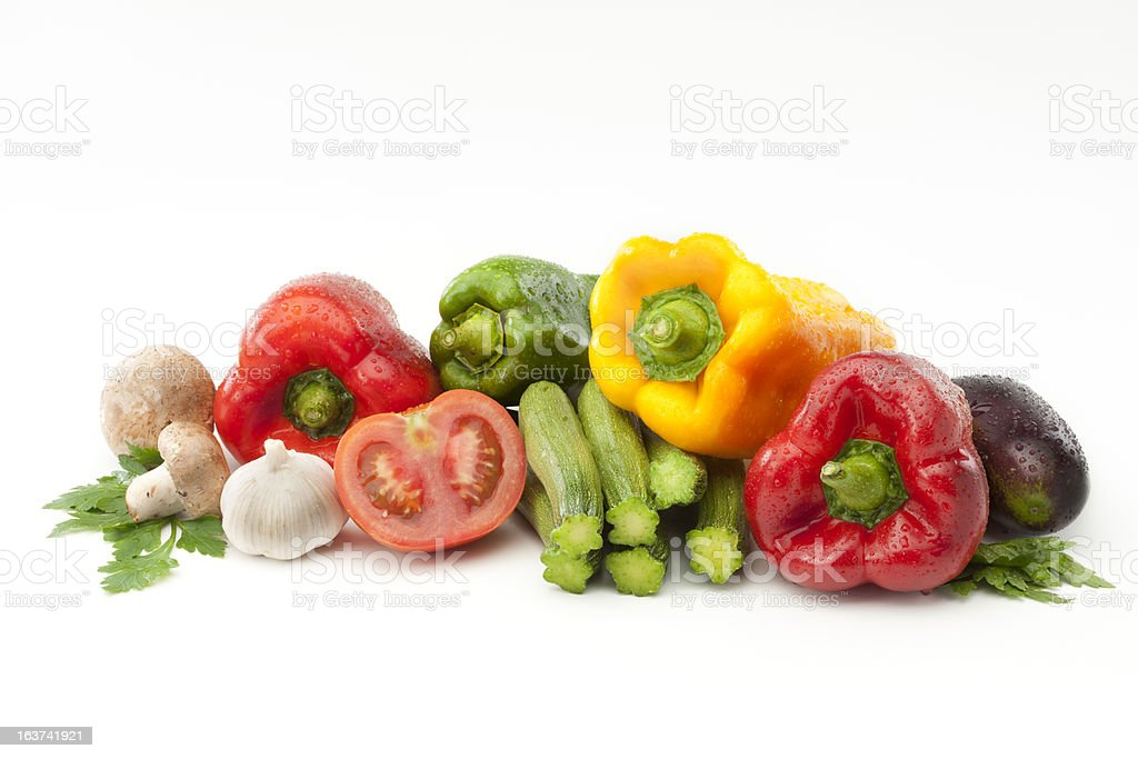 Colorful fresh vegetables on white background stock photo