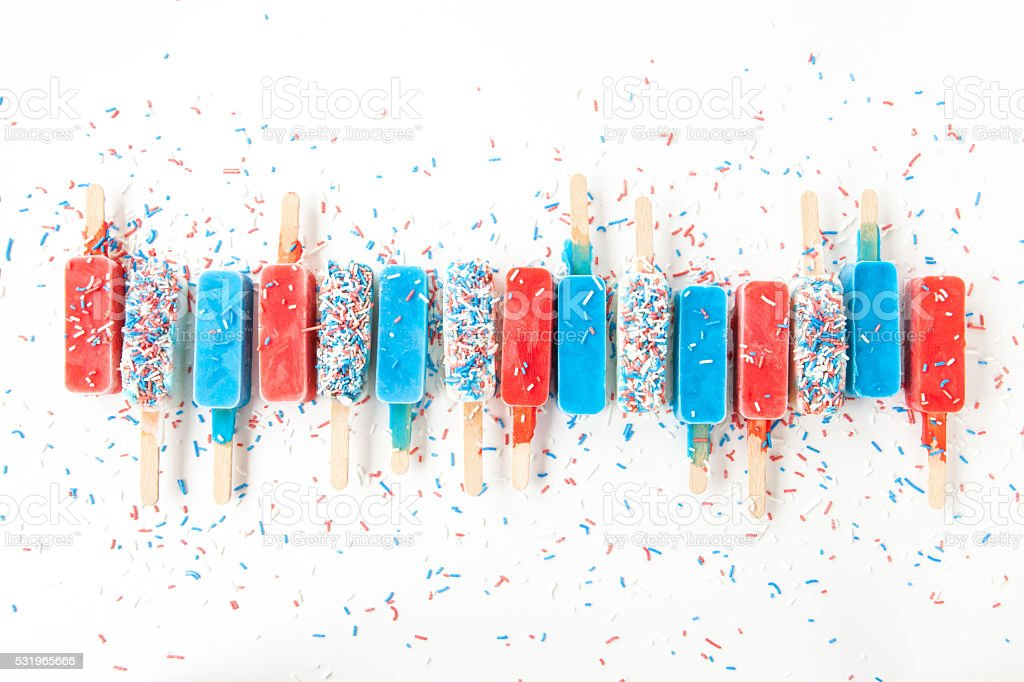 Colorful frozen popsicles stock photo