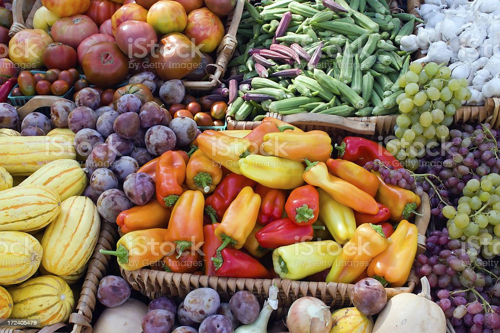 Colorful Fruit and Vegetables stock photo
