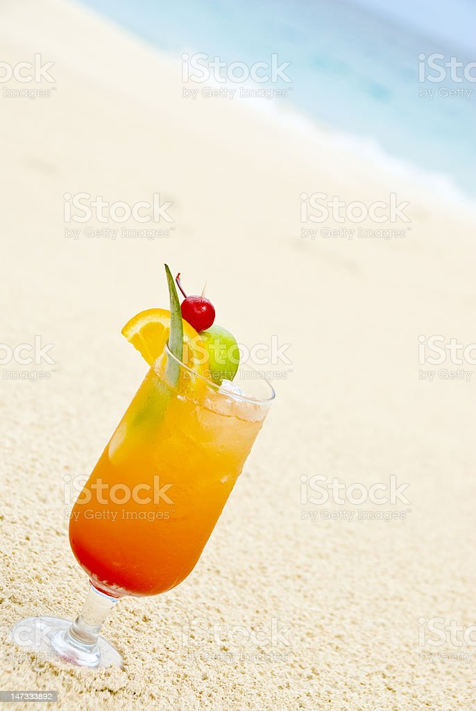 colorful fruit cocktail on the beach royalty-free stock photo