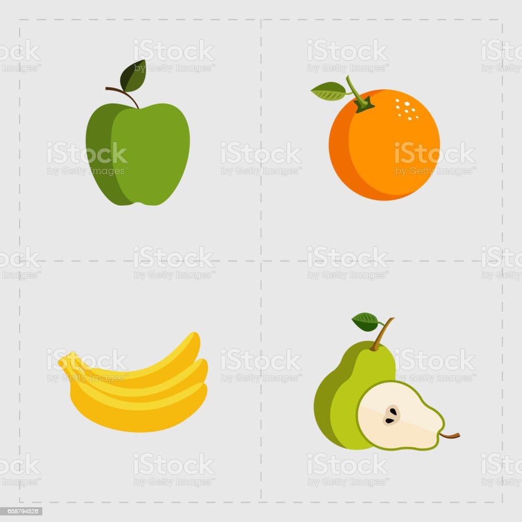 Colorful Fruit Icon Set on White Background stock photo