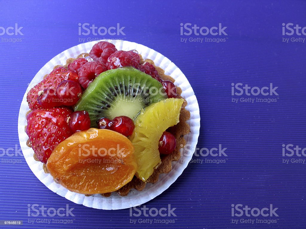 colorful fruit tart from above stock photo