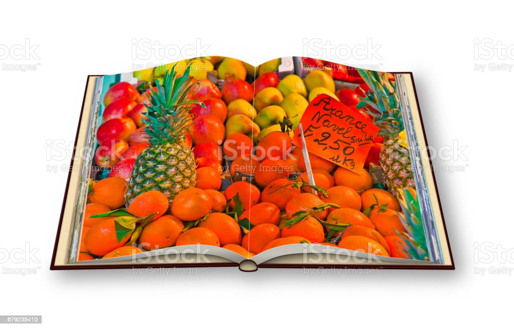 Colorful fruits and vegetables from organic agriculture exhibited in a italian market - 3D render of an opened photo book - I'm the copyright owner of the images used in this 3D render. stock photo
