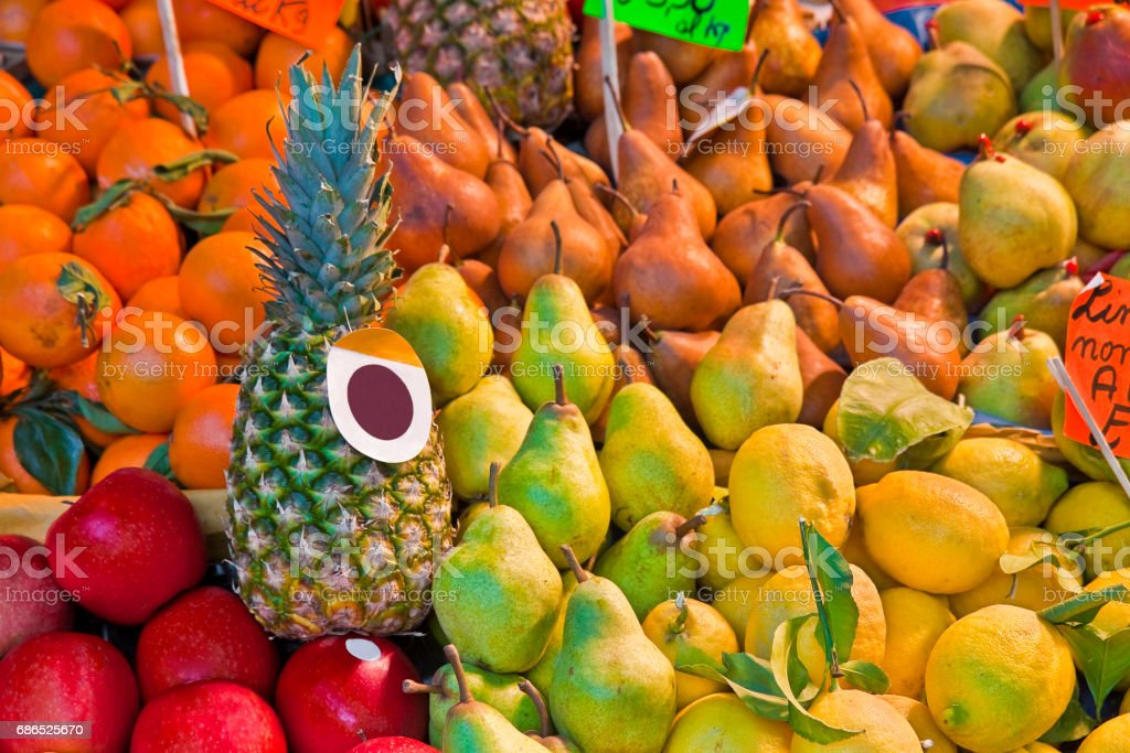 Colorful fruits and vegetables from organic agriculture exhibited in a italian market stock photo