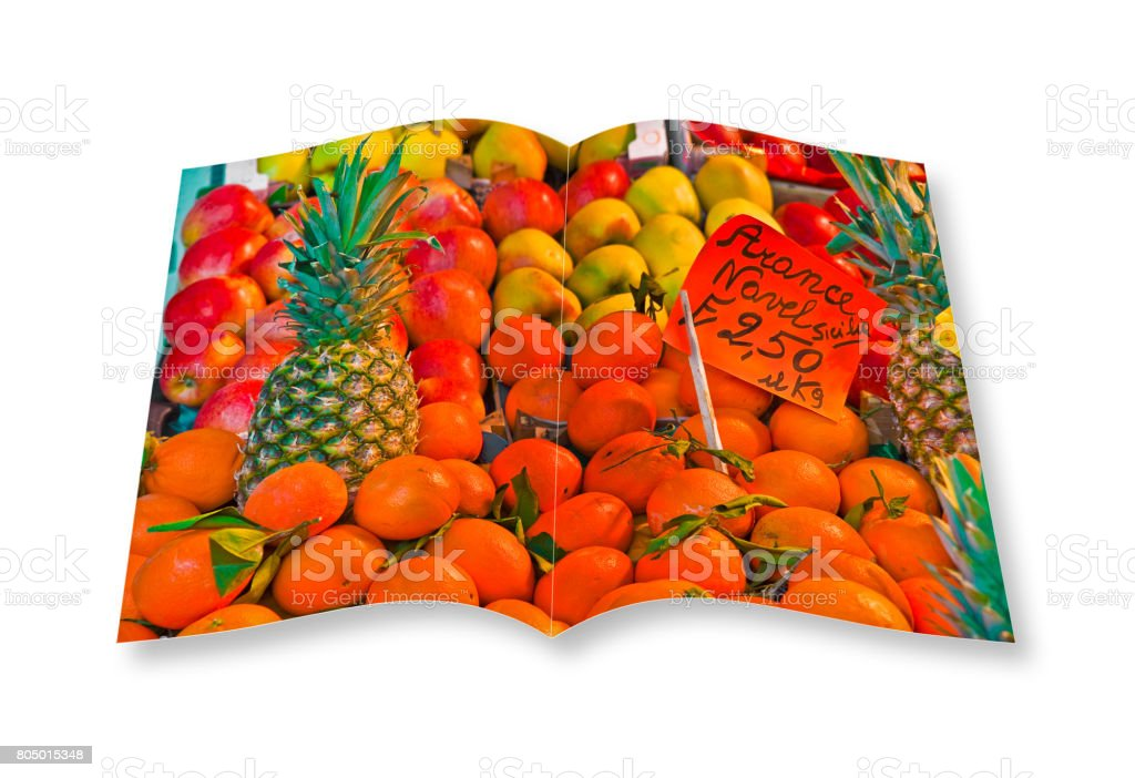 Colorful fruits and vegetables from organic agriculture exhibited in a italian market - 3D render of an opened photo book isolated on white background. I'm the copyright owner of the images used in this 3D render. stock photo