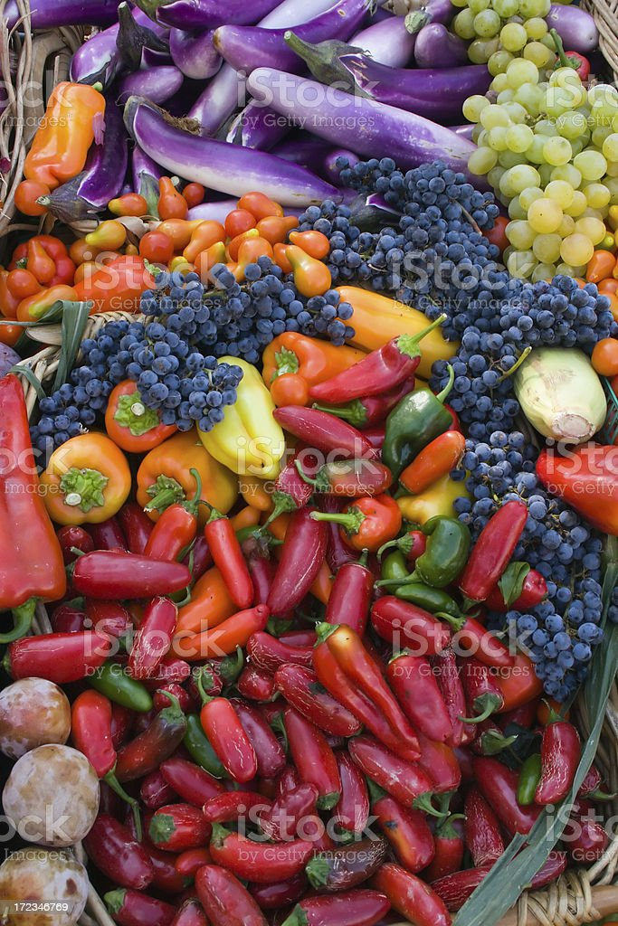 Colorful Fruits and Vegetables stock photo
