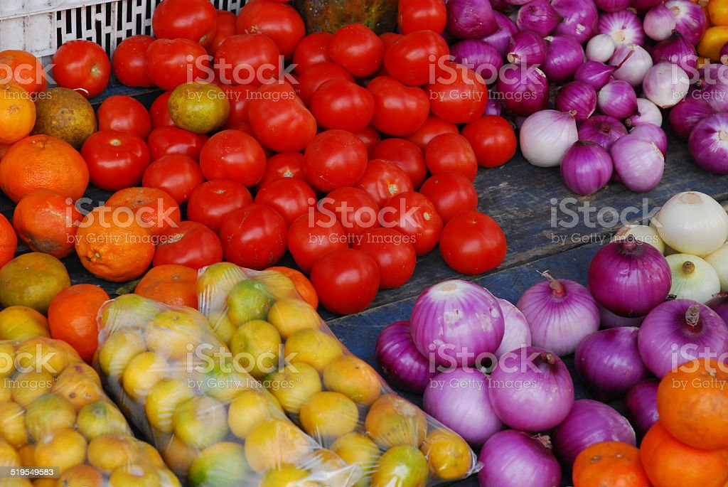 Colorful Fruits and Vegetables royalty-free stock photo